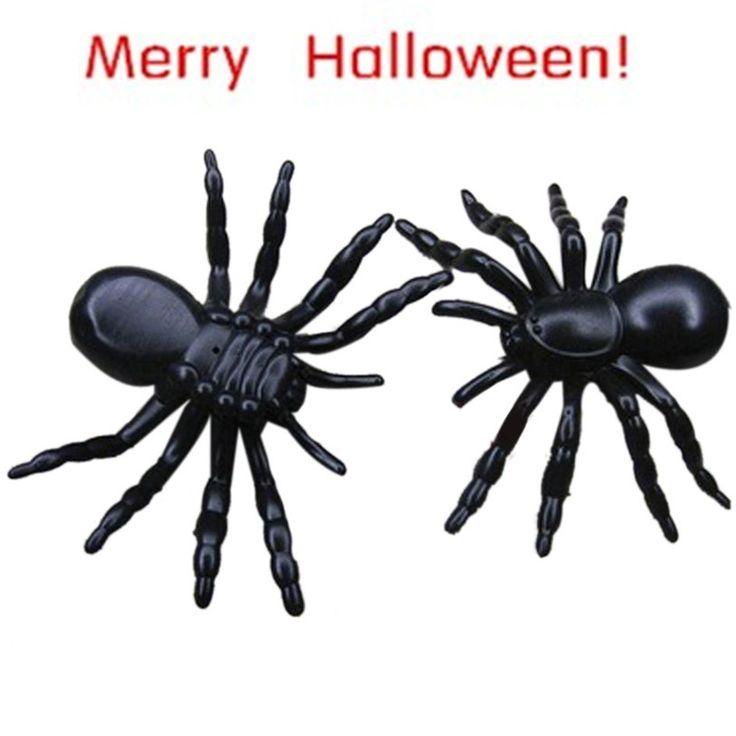 ベストセラードロップ船ハロウィン意外なガジェットプラスチック現実的な黒クモ冗談スライムおもちゃ子供のためまたは装飾Aug3