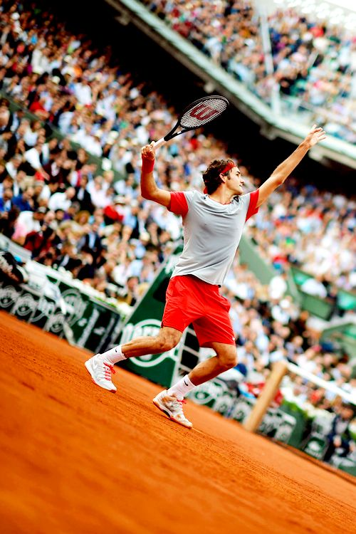 2014 French Open Third Round; Roger Federer def. Dmitry Tursunov 7-5, 6-7(7), 6-2, 6-4