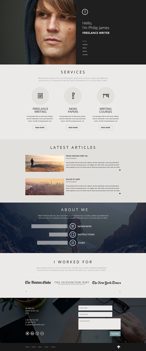 This homepage is the online portfolio of a free lance writer. The photo at the top draws the viewer in and tells them what the site is about. As the viewer scrolls down, more information is given as well as references and contact info. The spacing is nice and not to overwhelming.