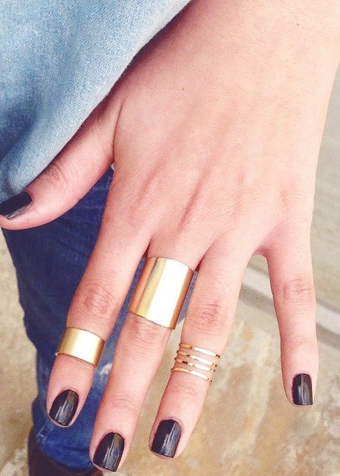 Cuff rings and dark polish.... both perfect for fall/winter #LoveIT