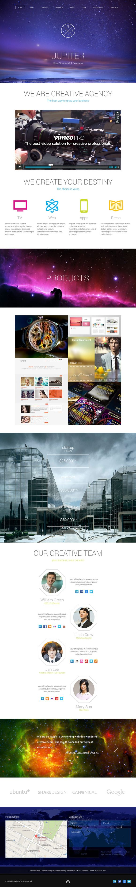 Jupiter Creative Agency PSD Template by ShakeDesign on Creative Market