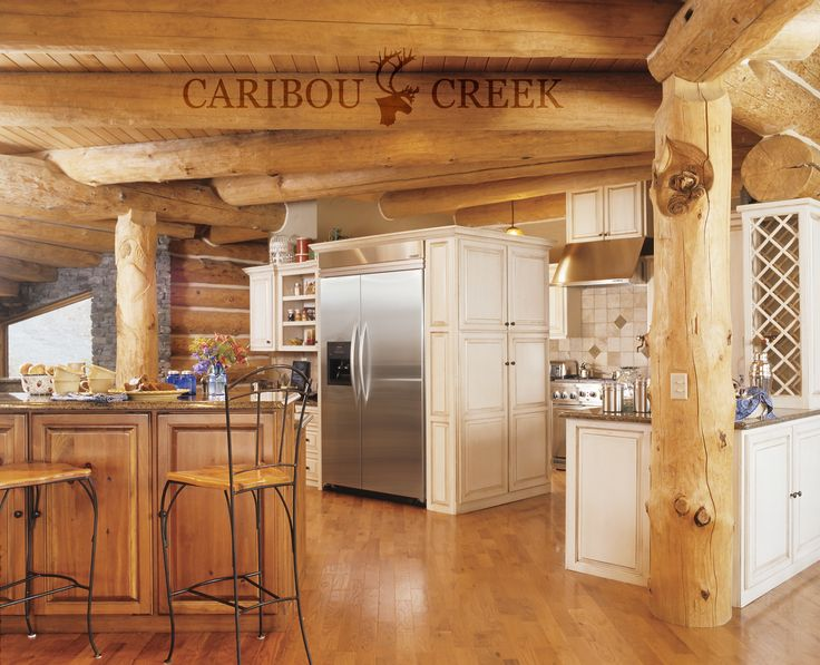 A Rustic Log Kitchen in a Chink Style Log Home