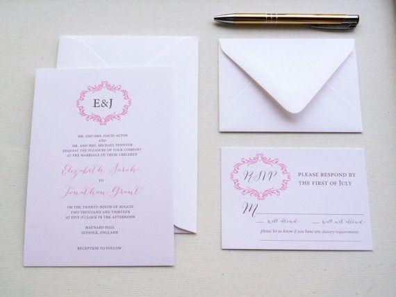 romantic blush wedding invitations   Blush Wedding Invitation Regency Sample by PinkOrchidInvites