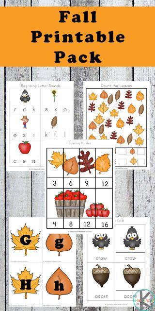 FREE fall worksheets for kids - toddler, preschool, prek, kindergarten for alphabet, math