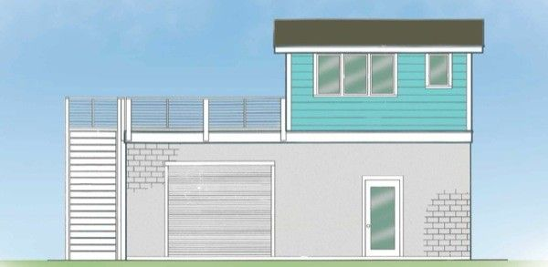 tiny-surf-house 14′ x 16' tiny house which leaves 676 sf deck 224-sq-ft-tiny-house-atop-900-sq-ft-garage
