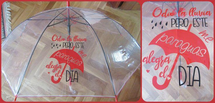 Paraguas transparente decorado con vinilo