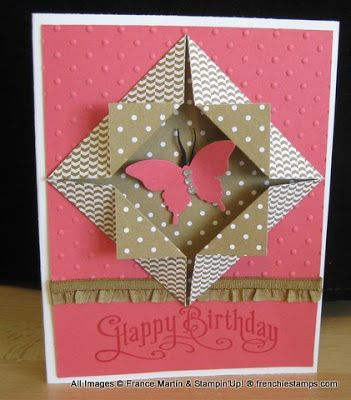 handmade birthday card ... origami folded frame with double sided patterned paper ... die cut butterfly ... Stampin' Up!