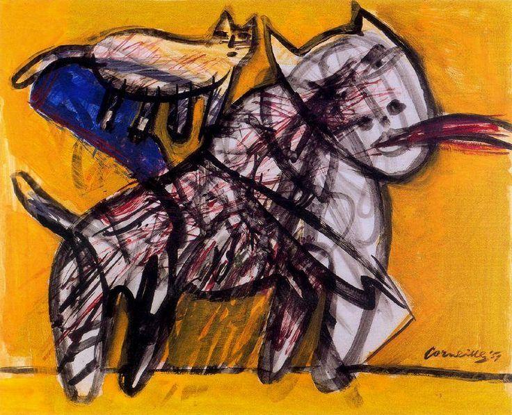 Cats - Corneille - CoBrA - Gouache - 1951