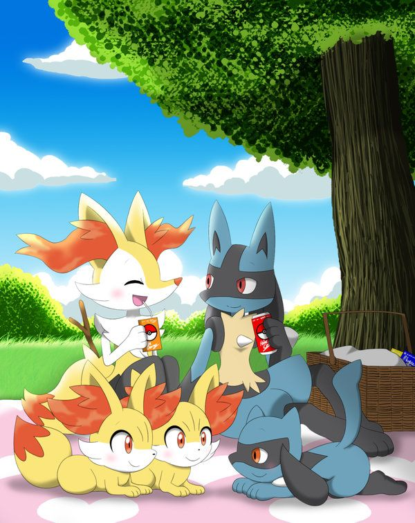 Lucario Riolu Braixen And Fennekin