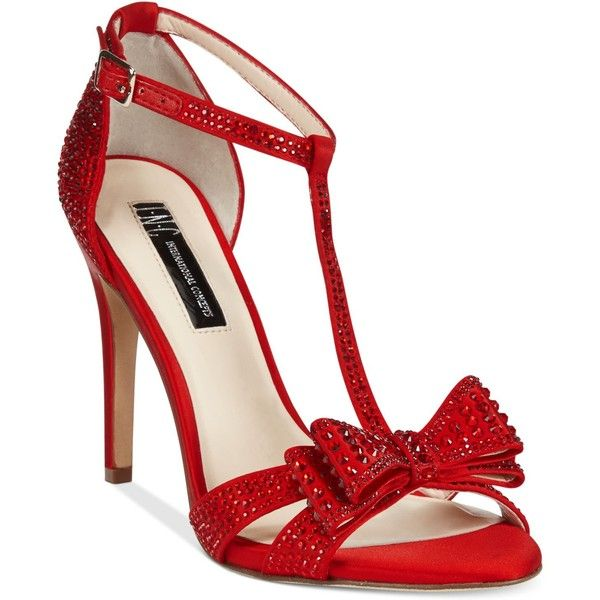 Inc International Concepts Women's Reesie Rhinestone Bow Evening... found on Polyvore featuring shoes, sandals, heels, pumps, spicy red, red rhinestone shoes, rhinestone sandals, inc international concepts shoes, special occasion sandals and evening sandals