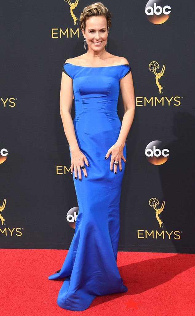 Melora Hardin from 2016 Emmys Red Carpet Arrivals  In Zac Posen