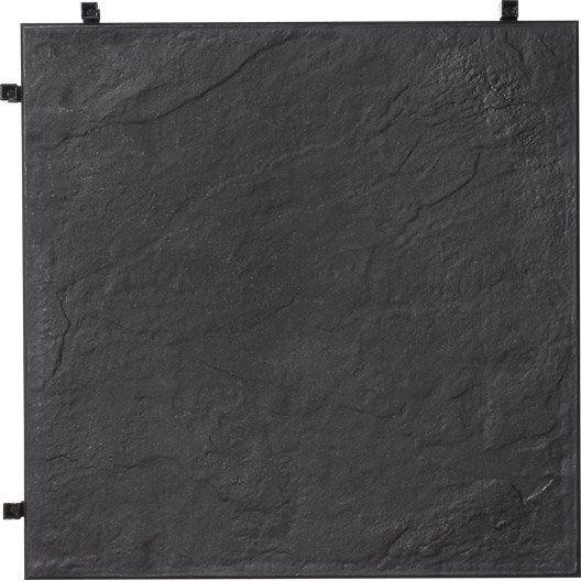Dalle clipsable polypropylène, aspect ardoise, L.38 x l.38 cm x Ep.25 mm