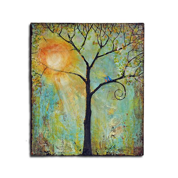 Commission Painting, Art Commission, Tree Painting, Mixed Media Art, Love Birds, Canvas Painting on Etsy, $400.00