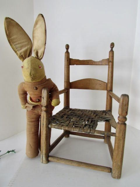 EARLY 20TH. CENTURY STUFFED RABBIT AND 18TH. CENTURY CHILD'S CHAIR  Price: $295.00 + shipping
