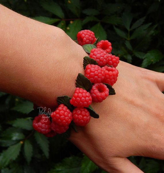 Forest red Raspberry charm bracelet  Food fruit bracelet