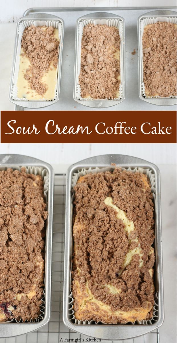 Sour Cream Coffee Cake Is Wonderfully Moist Has A Delicious Streusel Topping And Super Easy To Make Sour Cream Coffee Cake Coffee Cake Coffee Cake Recipes