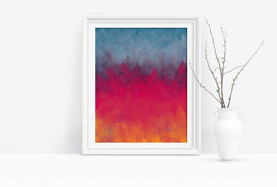 Printable Abstract Art in Pink, Yellow, and Blue. Add a modern touch to any home decor easily and affordable with printable art.  Just download, print, and hang :) #abstractprint #moderndecor #printable