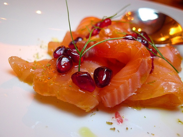 Citrus Cured Salmon w Pomegranate at FarmShop's Michael Ruhlman dinner