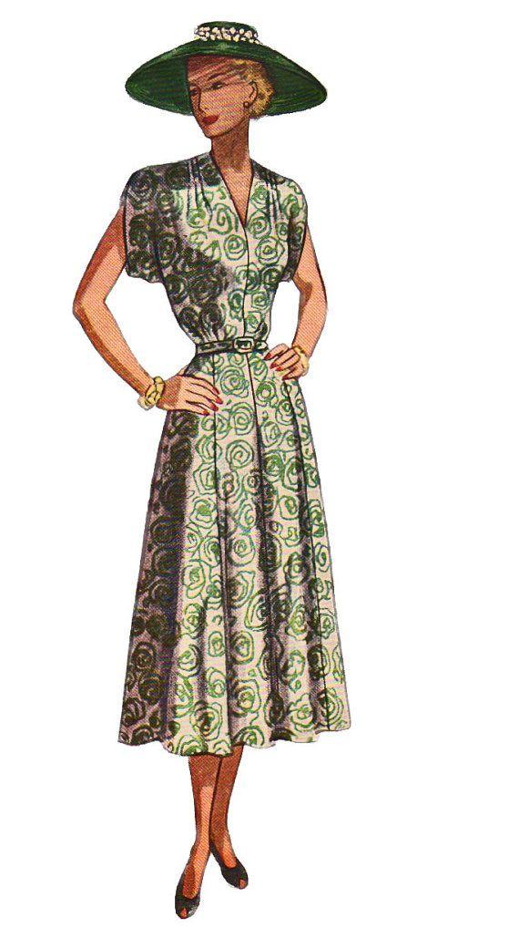 Simplicity 2409  1940s  Misses  V Neck Dress  Shoulder Tucks Pattern Womens Vintage Sewing Pattern Size 36 Bust 36