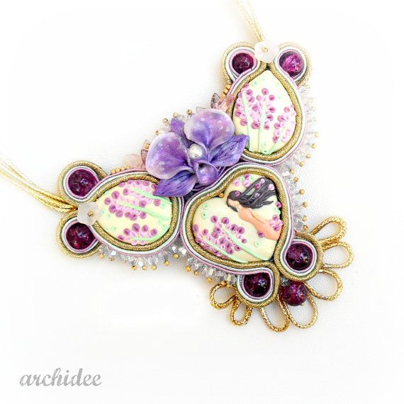 Lady Of Flowers Soutache Necklace di archidee su Etsy, €60.00