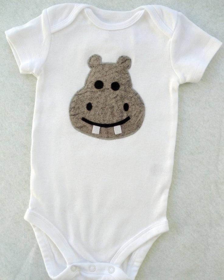 Baby Hippo Appliqued Onesie