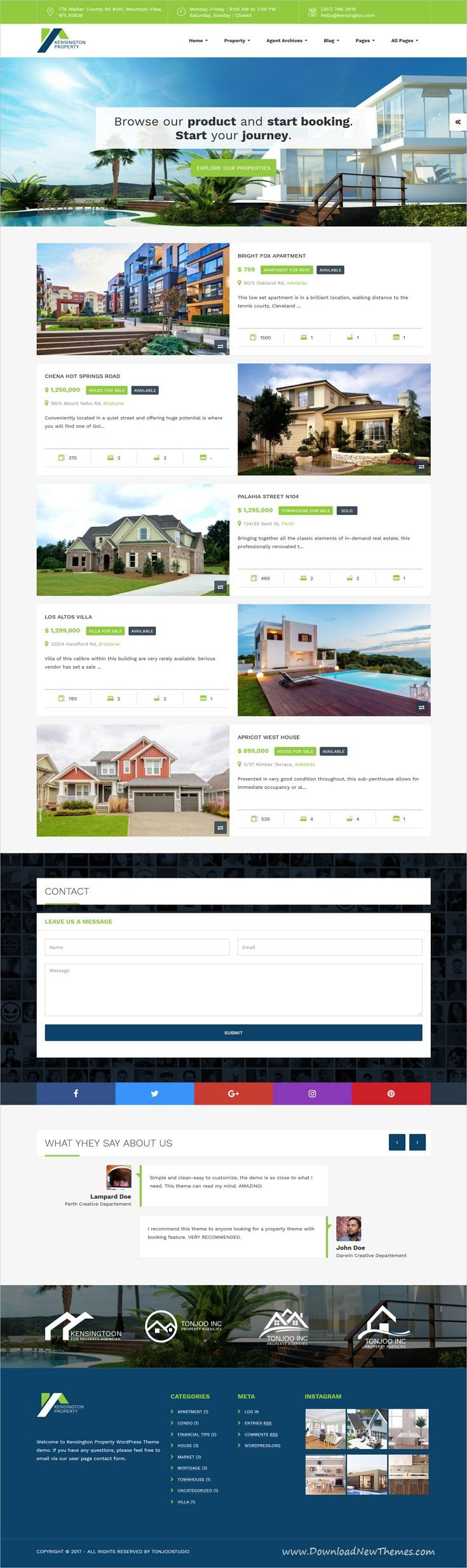 Kensington is clean and modern design 6in1 responsive WordPress #template for #realestate and #property management website to live preview & download click on image or Visit
