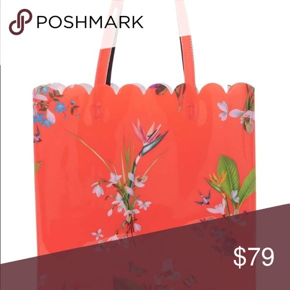 "Ted Baker London Tropical Oasis Tote Beautiful blooms stand out across a glossy res background on this scalloped large tote bag. - Dual top handles - Open top - Exterior features floral print and scalloped top - Approx. 13"" H x 13.25"" W x 4.25 D - Approx. 8.5"" handle drop - Brand New with tags Ted Baker London Bags Totes"