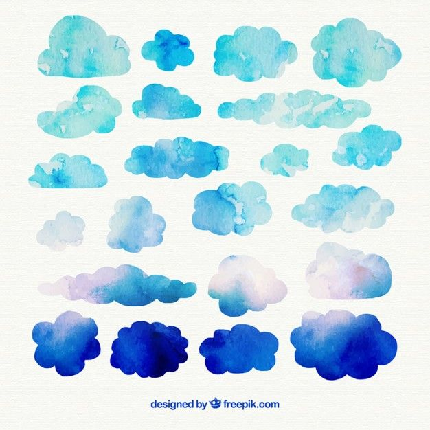 Clouds Free vector watercolor