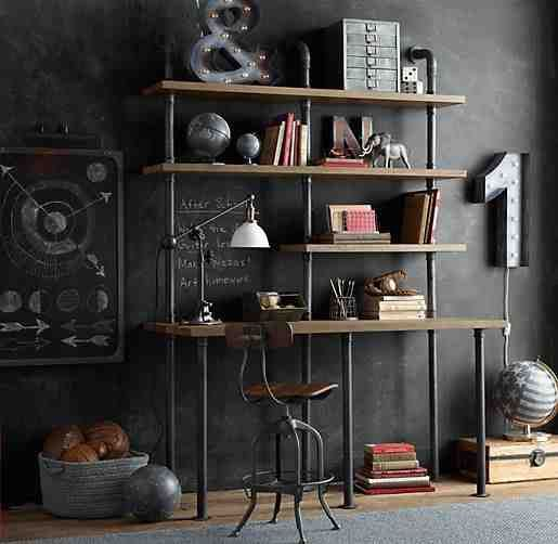 This Industrial Pipe Desk & Shelving Unit #repurposed