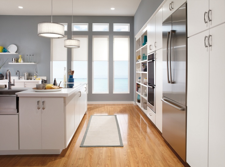 Kemper Elongates Your Kitchen With Wall To Wall Cabinets And A White Finish  For