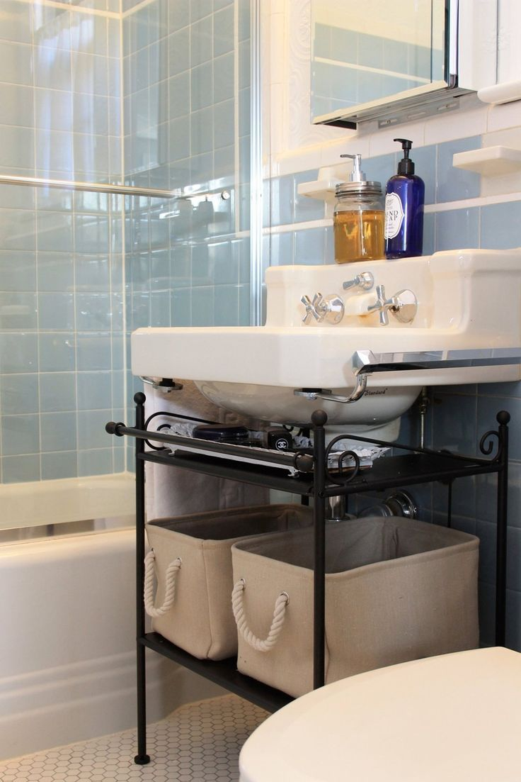 25 best ideas about pedestal sink storage on pinterest for Bathroom under sink organizer
