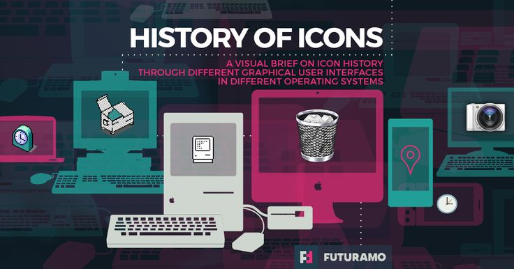 History of computer icons through different graphical user interfaces in different operating systems.
