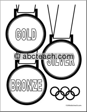 Coloring Page: Olympics - Medals (2) - preview 1