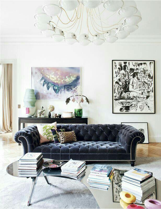 Blue Velvet Tuffed Couch.
