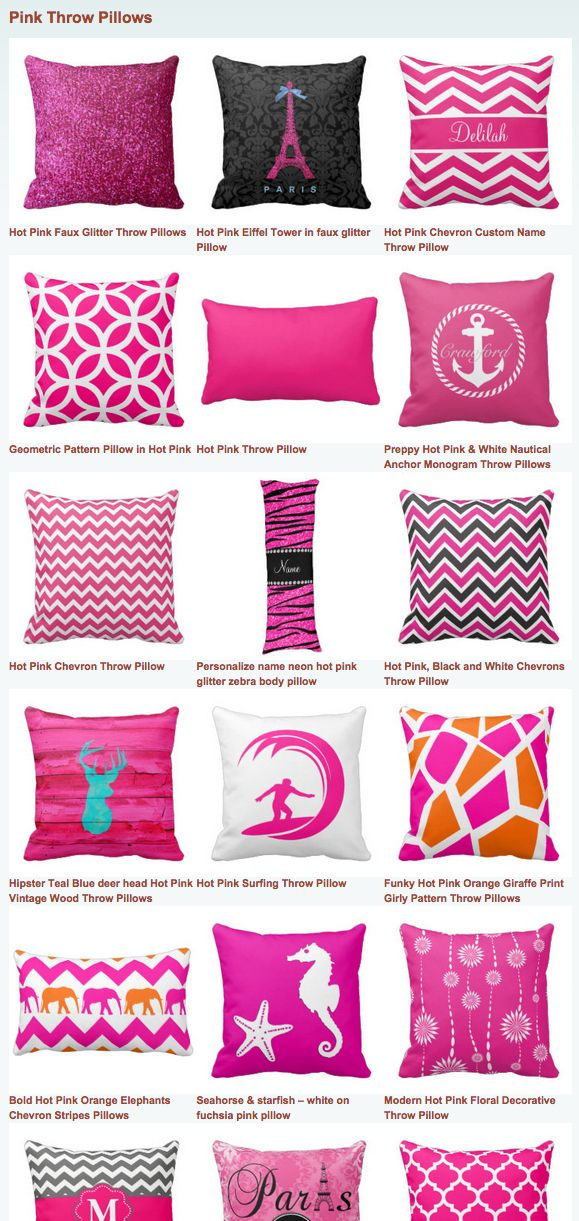 Hot Pink Throw Pillows for a girly themed toss cushion with plenty of fuchsia.  #pink #pillows
