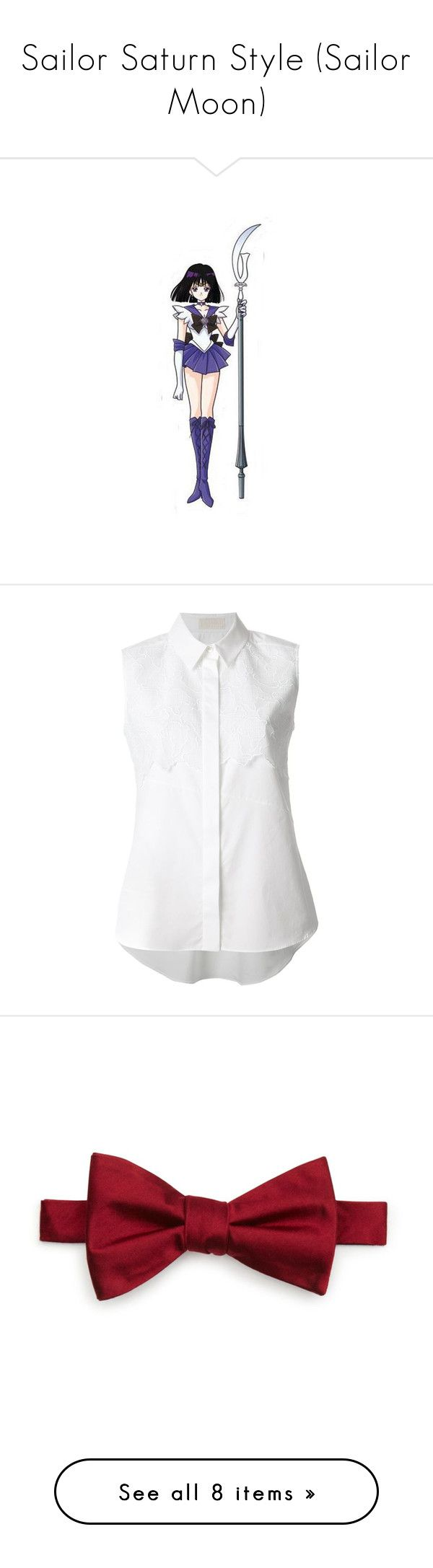 """""""Sailor Saturn Style (Sailor Moon)"""" by briony-jae ❤ liked on Polyvore featuring anime, tops, blouses, shirts, blusas, sleeveless shirts, white sleeveless blouse, sleeveless blouse, white blouse and cotton blouse"""