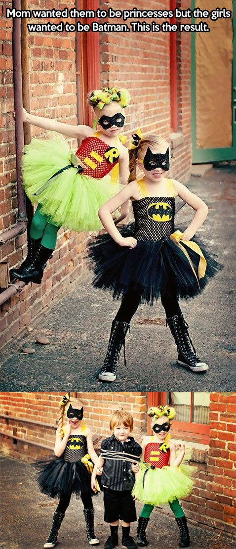 Halloween. Mom wanted them to dress like a princess. They wanted to be Batman. Looks like a Win/Win situation to me!
