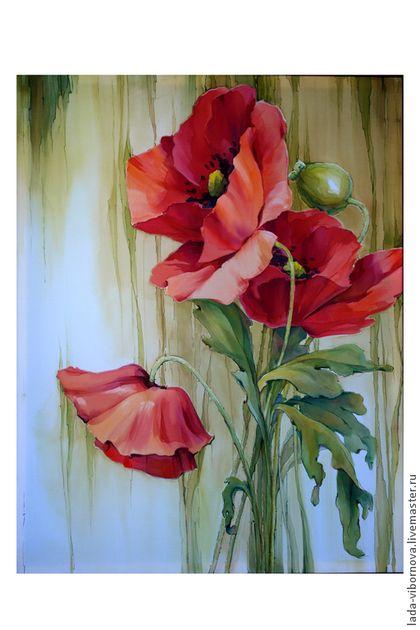 """Роспись по шелку """"Маки"""". - маки,красные маки,шёлк,батик,цветы,красные цветы"""