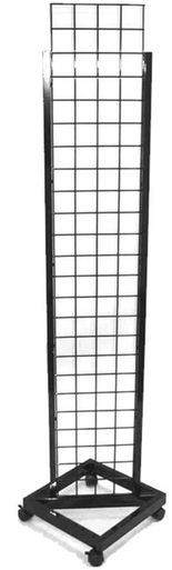 "14"""" x 72"""" Grid Panel Tower with Rolling Base, Black"