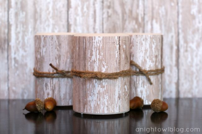 LED candles with patterned paper and twine