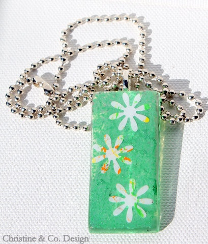 Spring Green and Flower Glass Pendant by ChristineandCodesign, $25.00: Flowers Glasses