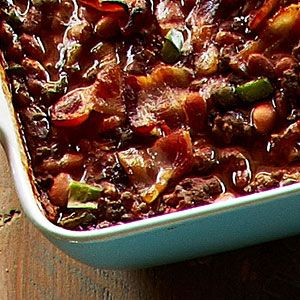 "Trisha Yearwood's Baked Bean Casserole ""This dish quickly became the new baked bean side at our house, but with the addition of ground beef, it is hearty enough for a meal,"" Trisha says."