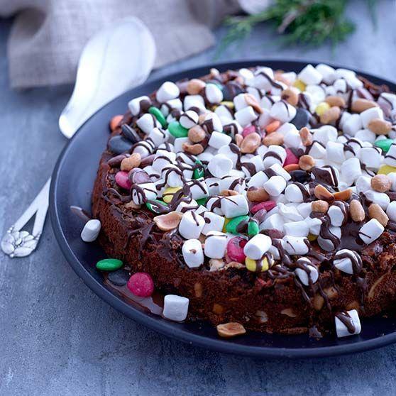 Chokoladekage Rocky Road, chokolade, chokoladekage, kage, jul, dansukker, julekage, inspiration, opskrift, bageglæde