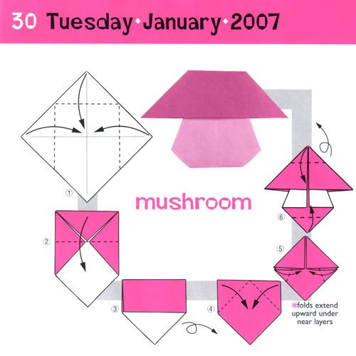 Origami mushroom folding instructions