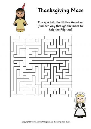 Thanksgiving Mazes  Here are some Thanksgiving mazes to print out for the kids to enjoy, illustrated with pilgrims, native Americans and the Mayflower! We have three levels of difficulty to choose from.