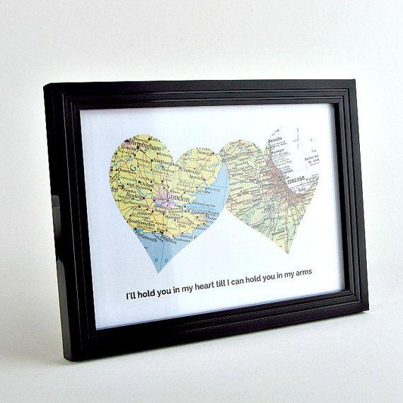 Weihnachtsgeschenk für Langstrecken-Freund, Freundin Entfernung Geschenke, Entfernung Geschenke für Freund, personalisierte Langstrecken-Karte Herzen