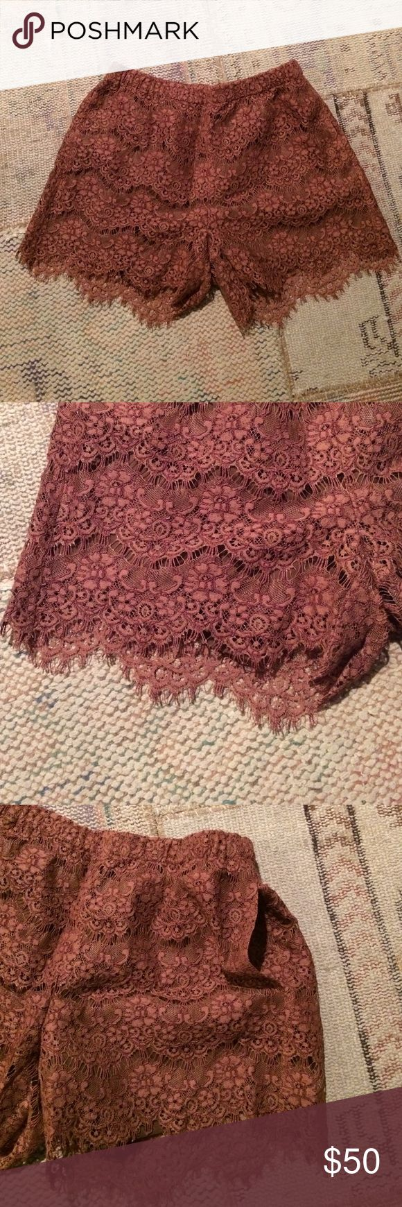 Madewell Lace Shorts Beautiful cinnabar color. RARE! Lace shorts couldn't be cuter with tights and a cozy sweater and clogs. Pockets, too!! Madewell Shorts