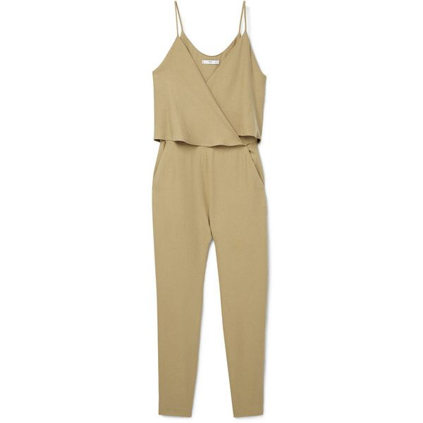Wrap Long Jumpsuit (97 AUD) ❤ liked on Polyvore featuring jumpsuits, mango jumpsuit, wrap jumpsuit, jump suit, long jumpsuit and beige jumpsuit
