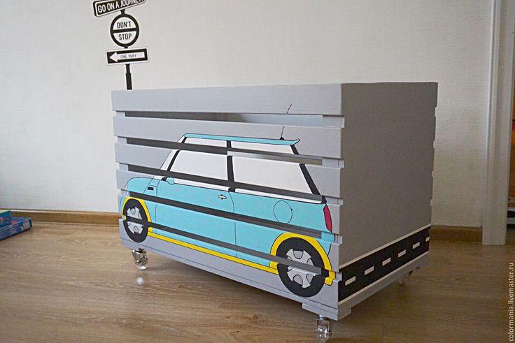 Купить Ящик для хранения игрушек - серый, ящик для хранения, ящик, из дерева, хранение игрушек