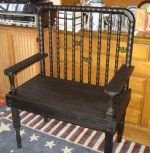 Jenny Lind Crib Bench-Jenny Lind Baby Crib Bench Bed.  old prim look, painted black, a piece of the past